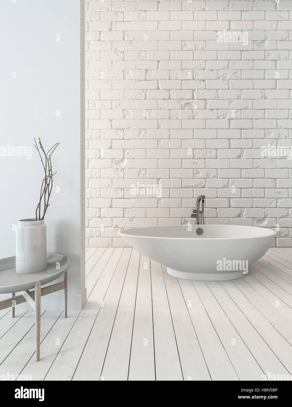 Dielenboden Badezimmer | 3d Rendering Schicke Badewanne Auf Holzernen Dielenboden Neben