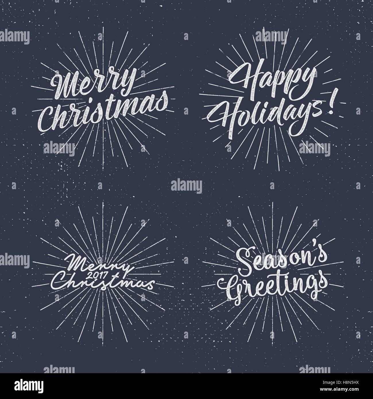 Satz von Weihnachten Schriftzug, Wünsche und Vintage-Etiketten ...