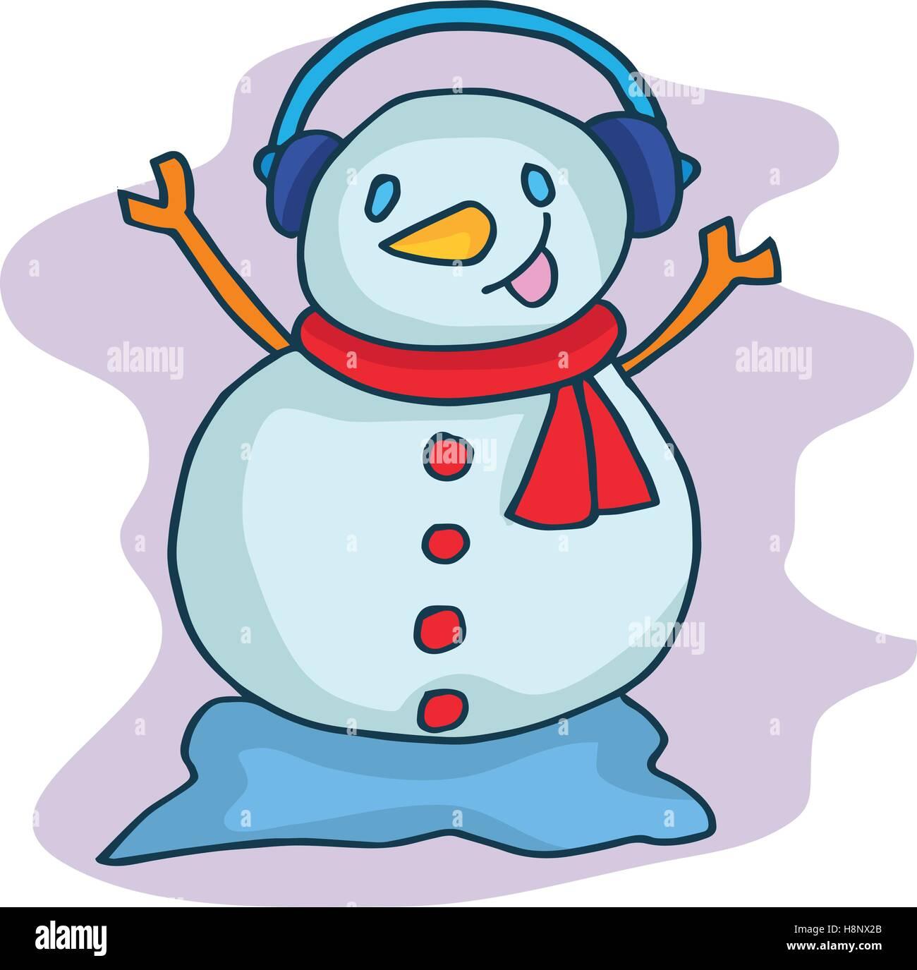 Weihnachten-Schneemann mit Kopfhörer cartoon Vektor Abbildung - Bild ...
