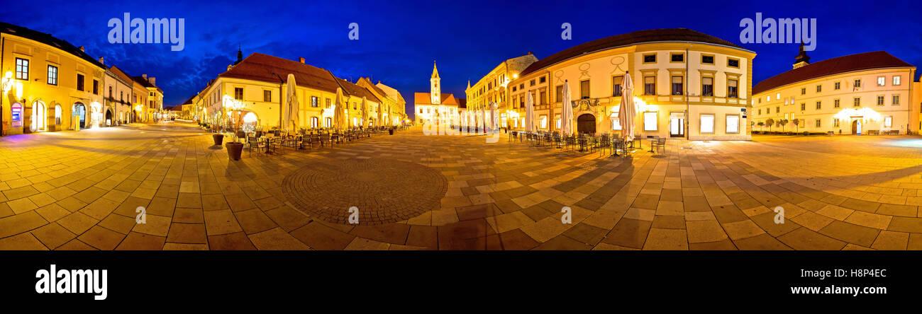 Stadt von Varazdin zentrale quadratische Panorama, barocke Stadt im Norden Kroatiens Stockbild
