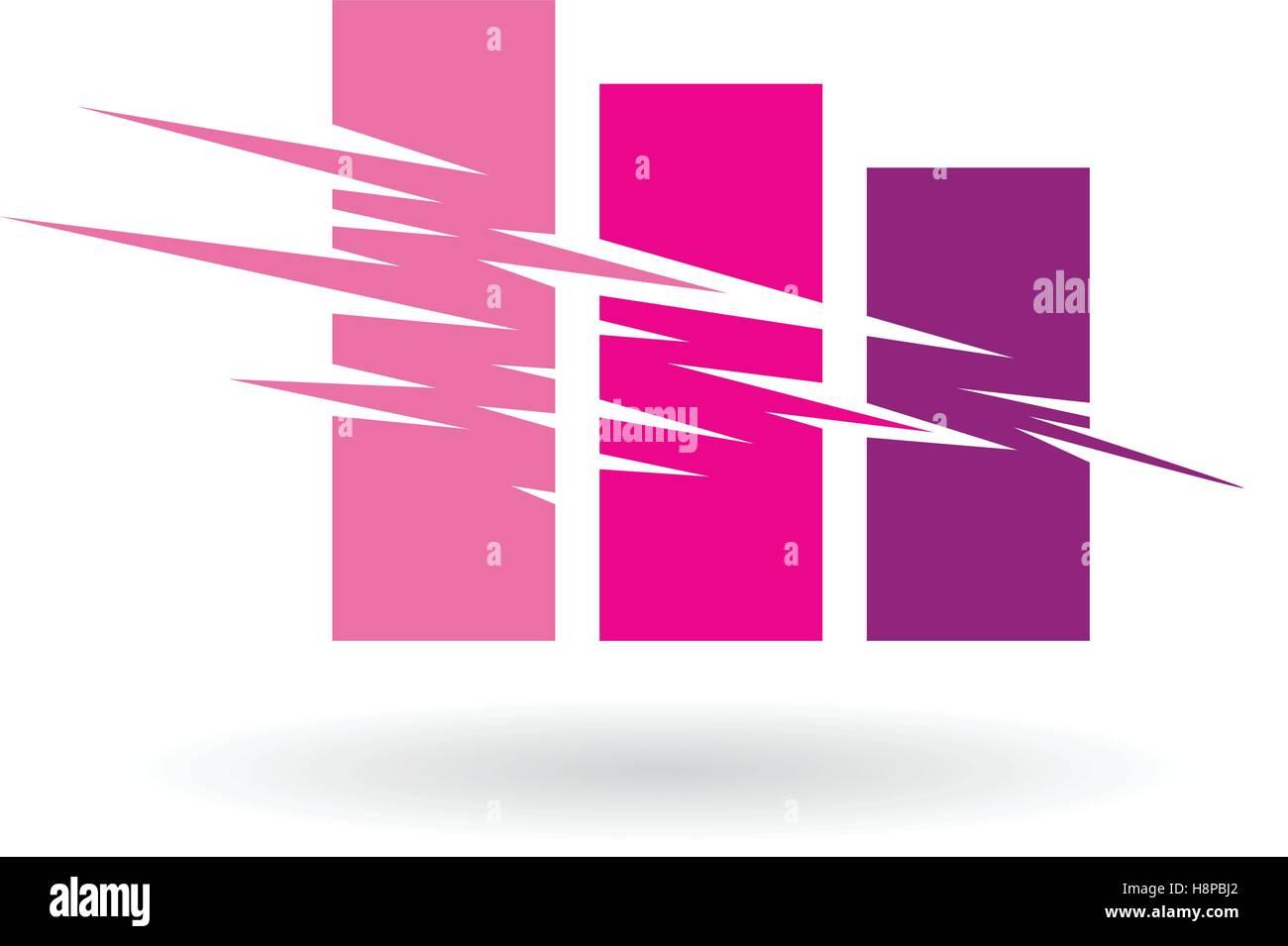 Vector Illustration von fallen Stats abstrakte Icon isoliert auf weißem Hintergrund Stockbild