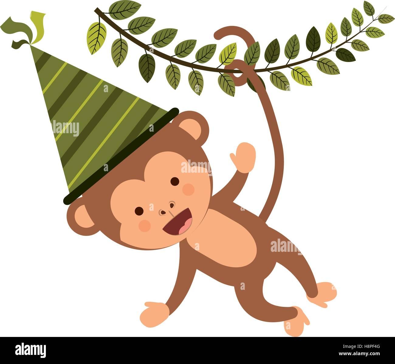 Affe Comic Mit Party Hut Symbol Alles Gute Zum Geburtstag Feier