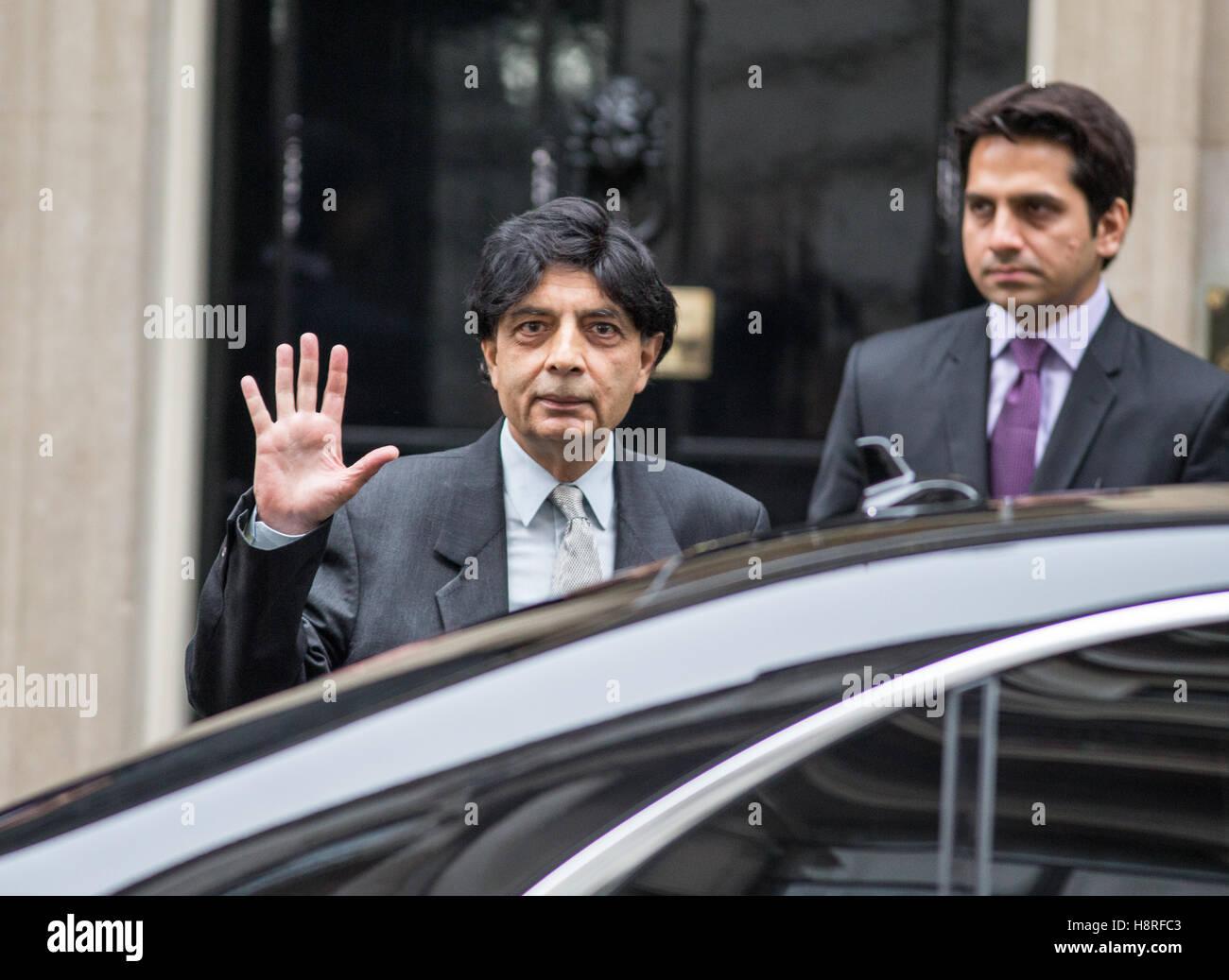 Chaudhry Nisar Ali Khan, pakistanischer Politiker und Minister des Innern und Narcotics Control Iat 10 Downing Street. Stockbild