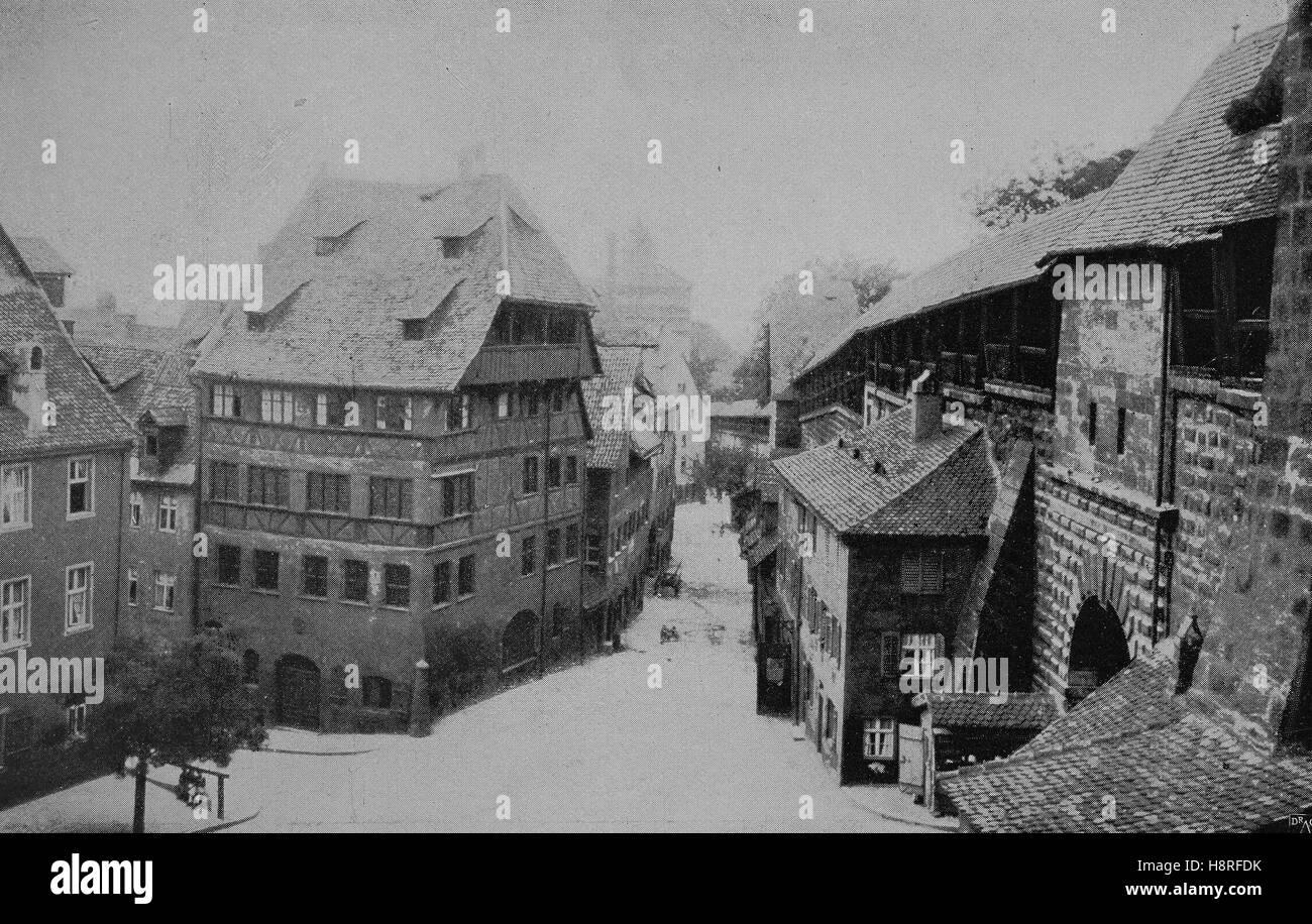 Das Haus von Dürer in Nürnberg, Bayern, Deutschland, Albrecht-Dürer-Haus Stockbild