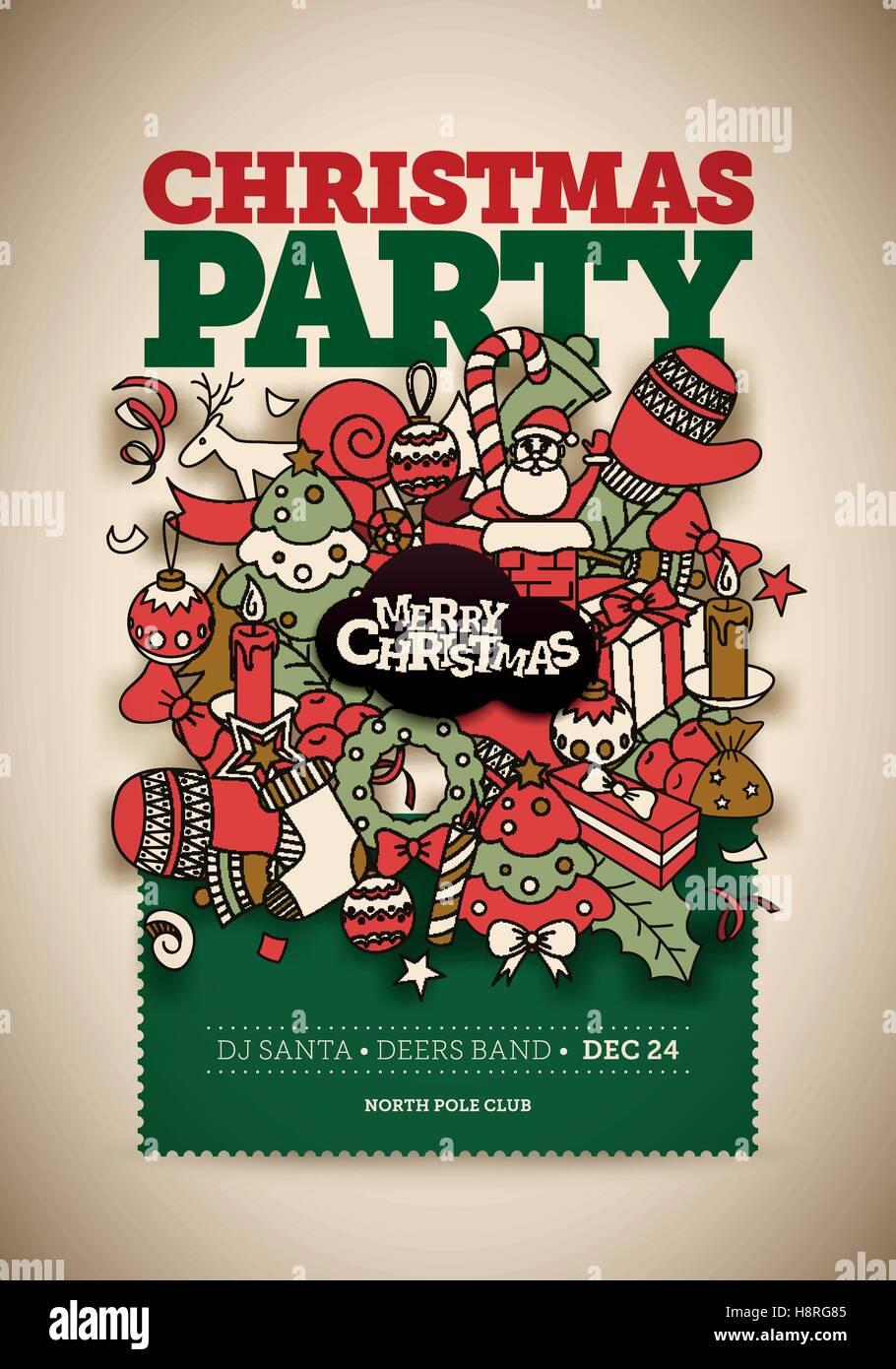 Weihnachtsfeier Plakat.Vektor Weihnachtsfeier Plakat Design Partei Handgezeichnete