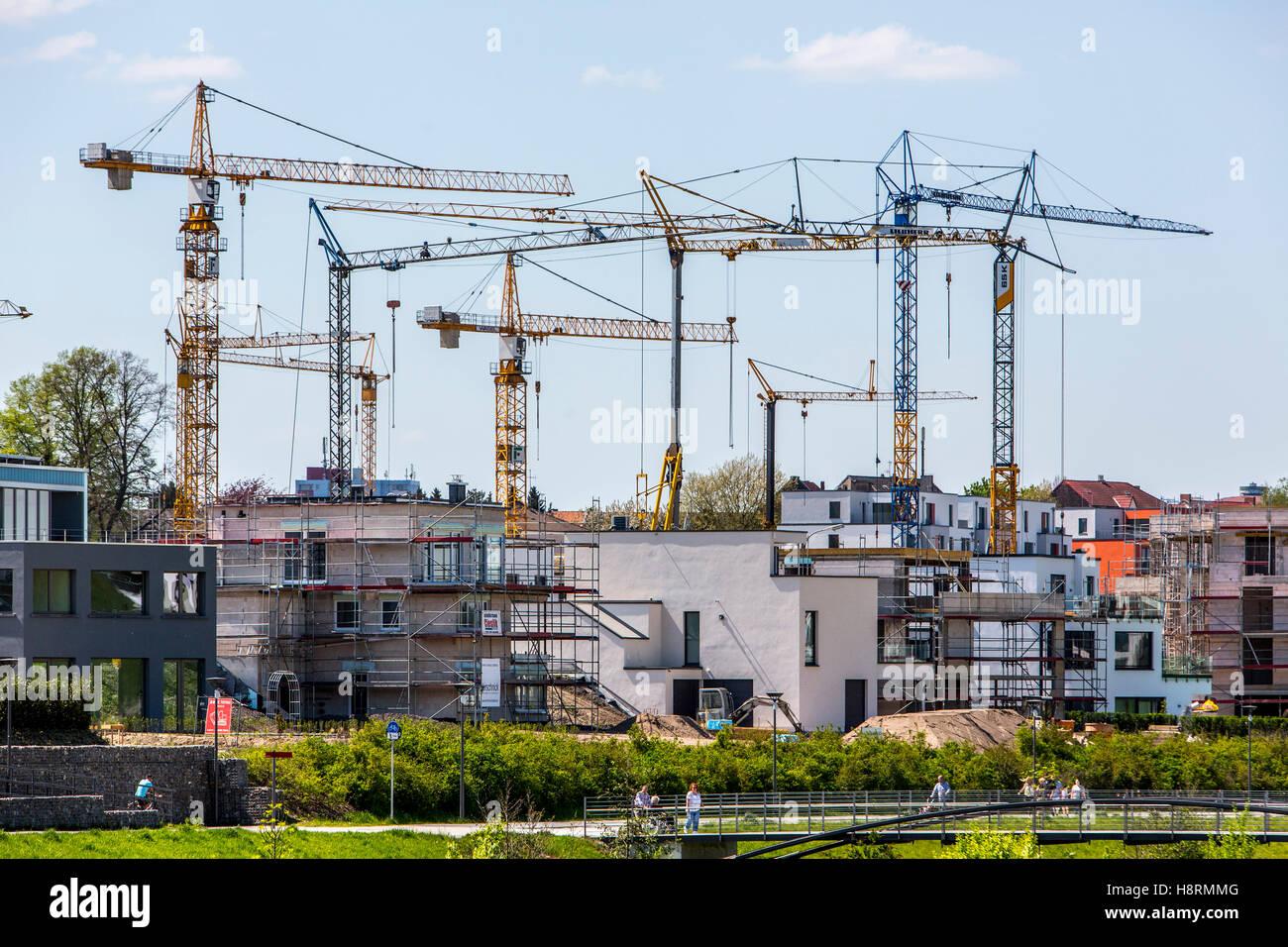 Baustelle, Wohn-Häuser, Baukräne, Deutschland Stockbild