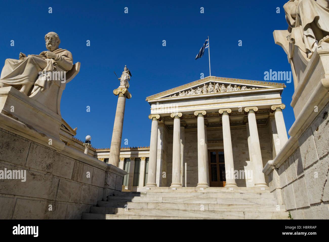 Die Akademie von Athen auf Panepistimiou Straße in Athen, Griechenland Stockbild