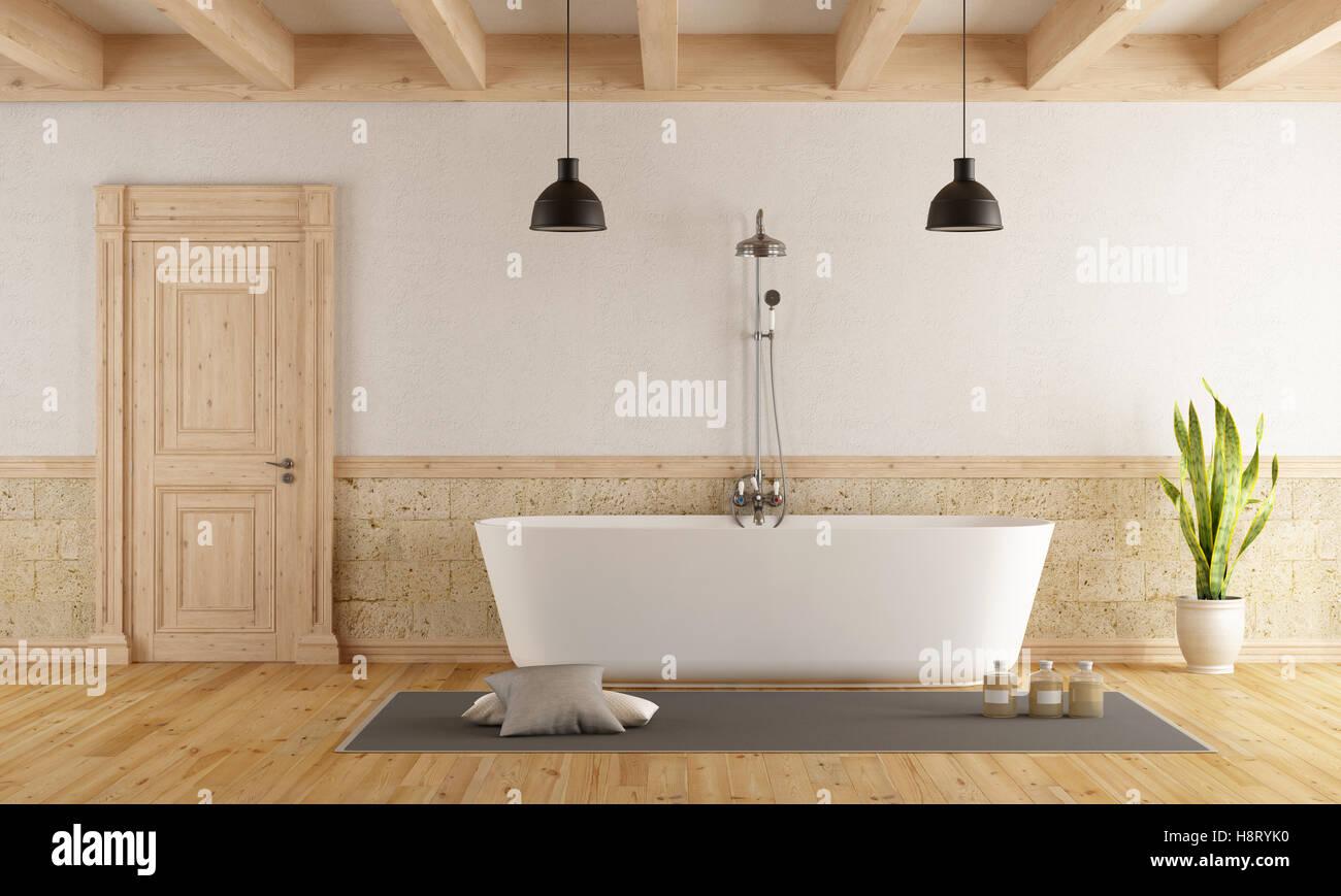 Badezimmer Im Rustikalen Stil Mit Modernen Badewanne   3d Rendering