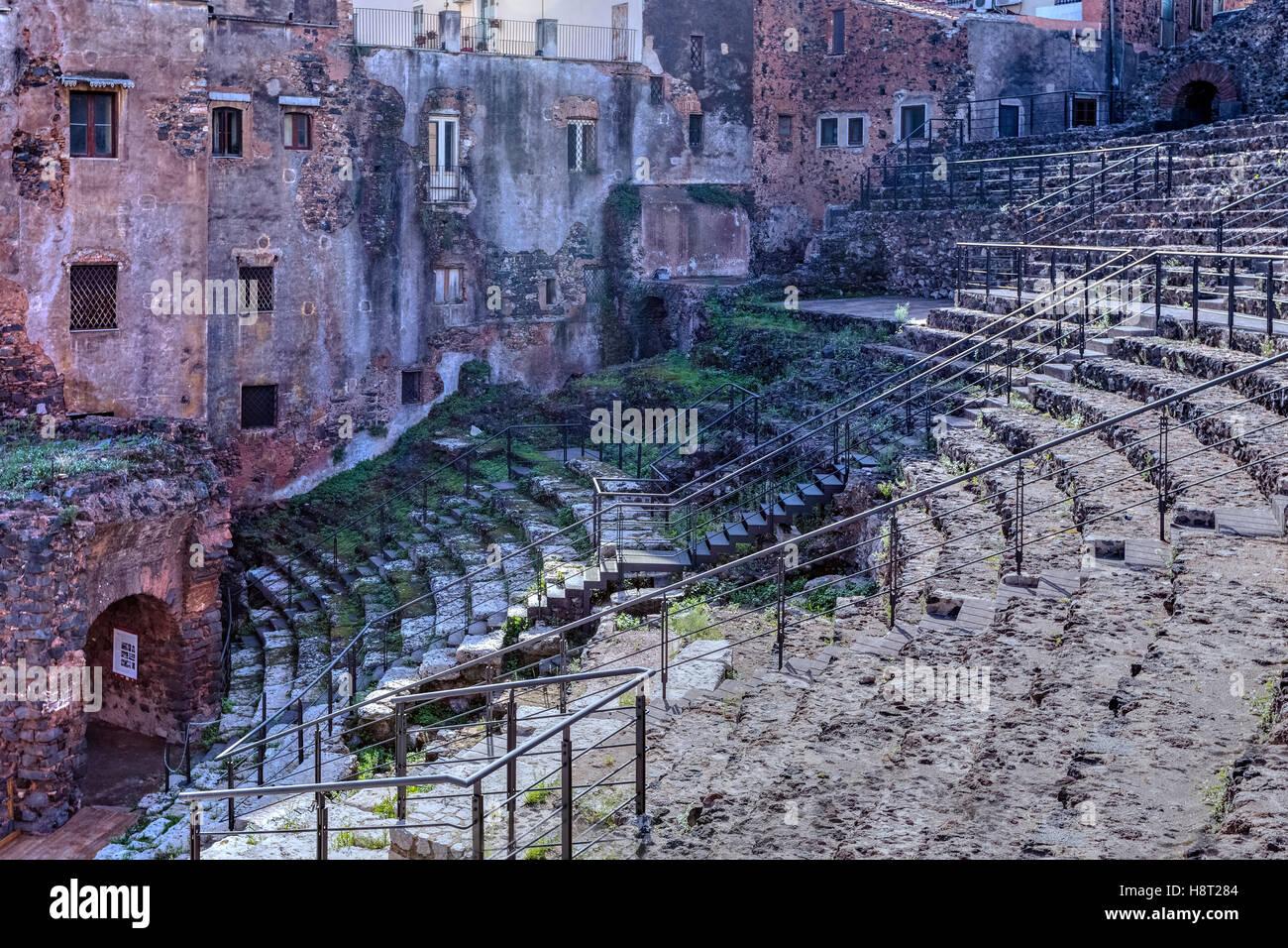 Teatro Romano, Catania, Sizilien, Italien Stockbild