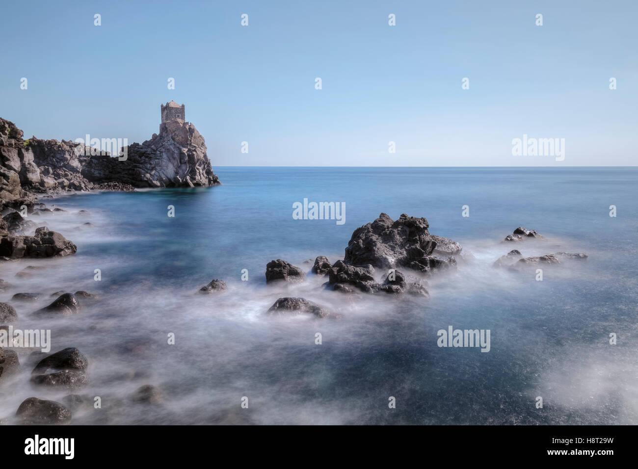 Wachturm, Santa Tecla, Acireale, Catania, Sizilien, Italien Stockbild
