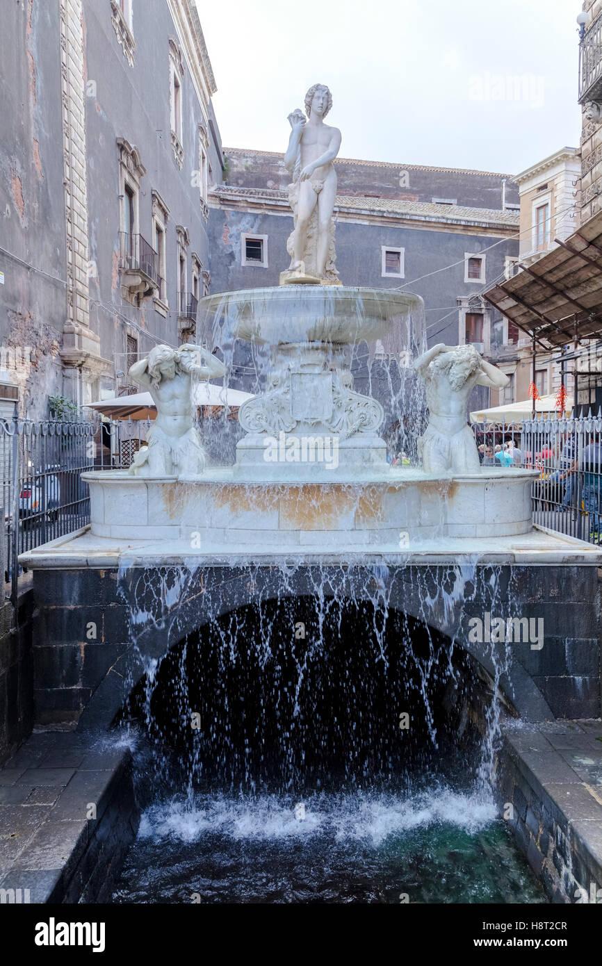 Fontana dell'Amenano, Catania, Sizilien, Italien Stockbild