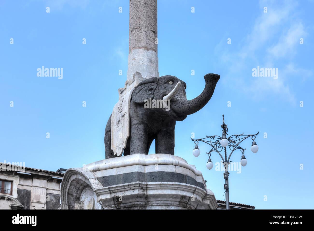 Fontana dell'Elefante, Catania, Sizilien, Italien Stockbild