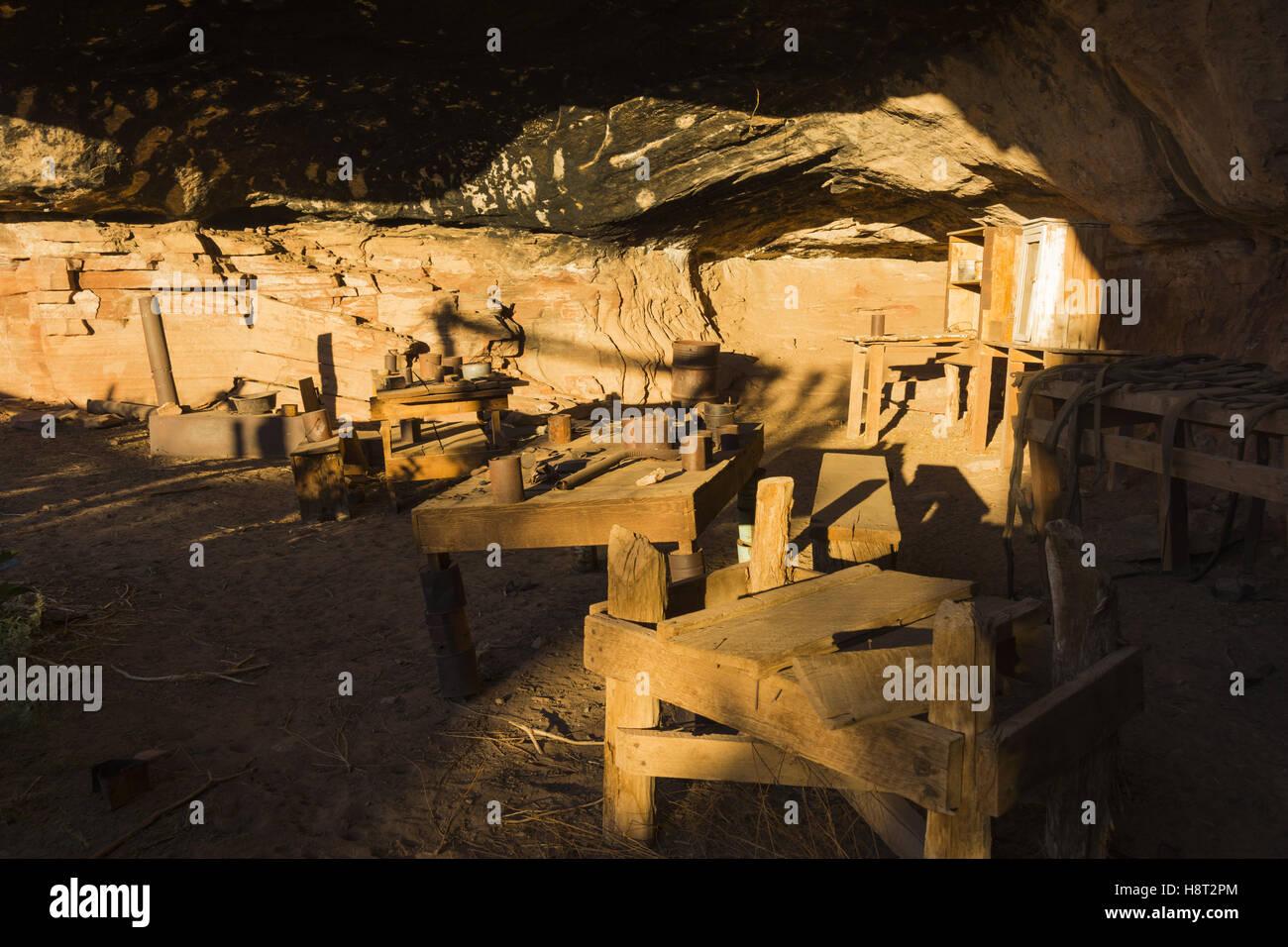 Utah, Canyonlands National Park, Needles District, Höhle Frühling Cowboy Camp Stockbild