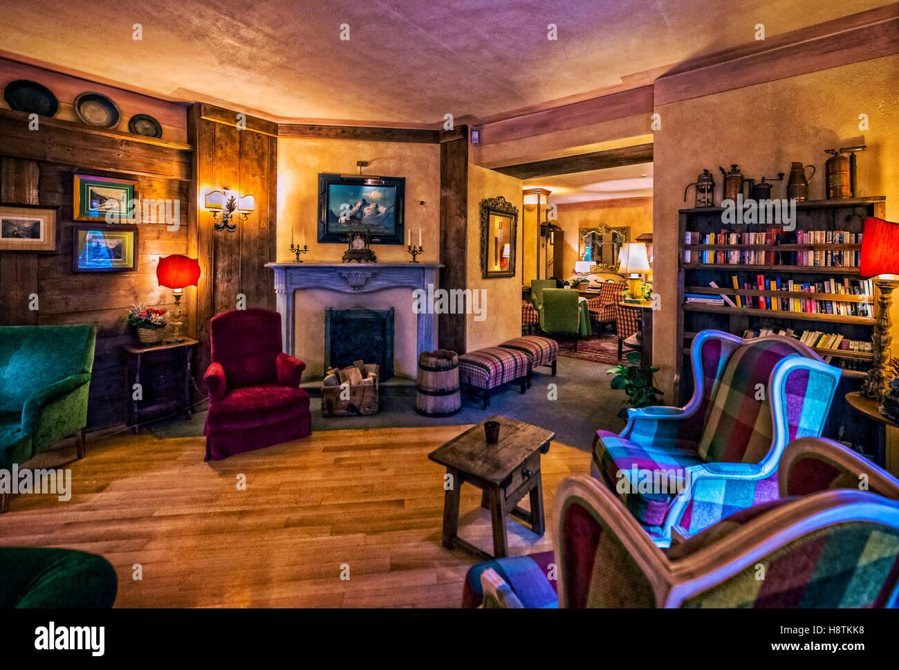 Lounges für Gäste im Romantik Hotel Villa Novecento, Courmayeur Stockbild