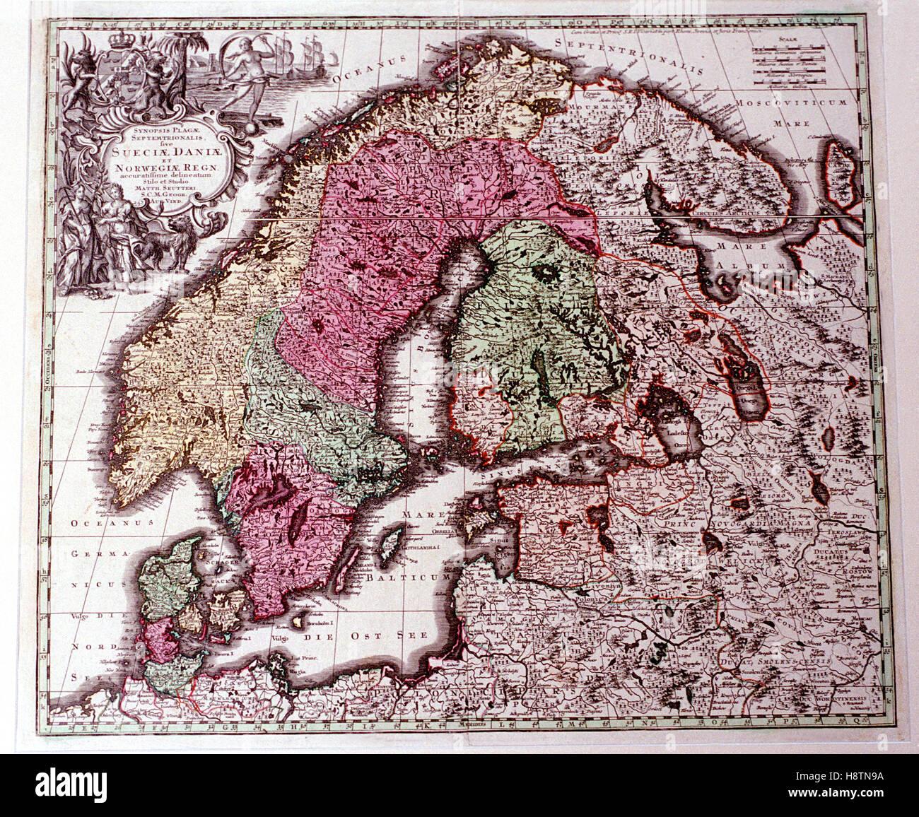 ALTE Karte von den nordischen Ländern in den 1600er Jahren Stockfoto