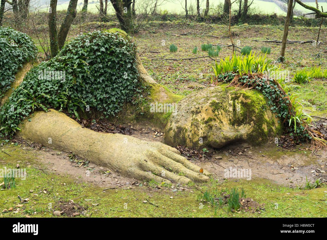 Mud Maid Skulptur, Lost Gardens of Heligan, Cornwall, England Stockbild