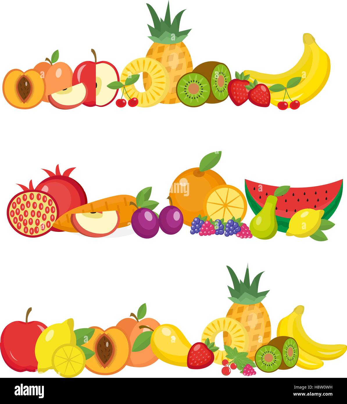 Früchte-Banner-Set. und Beeren horizontale Poster. Websitesammlungs ...