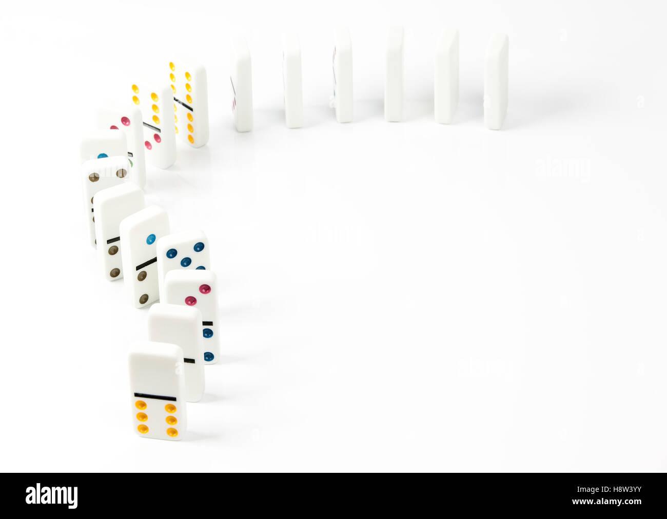 Domino isoliert auf weißem Hintergrund Stockbild