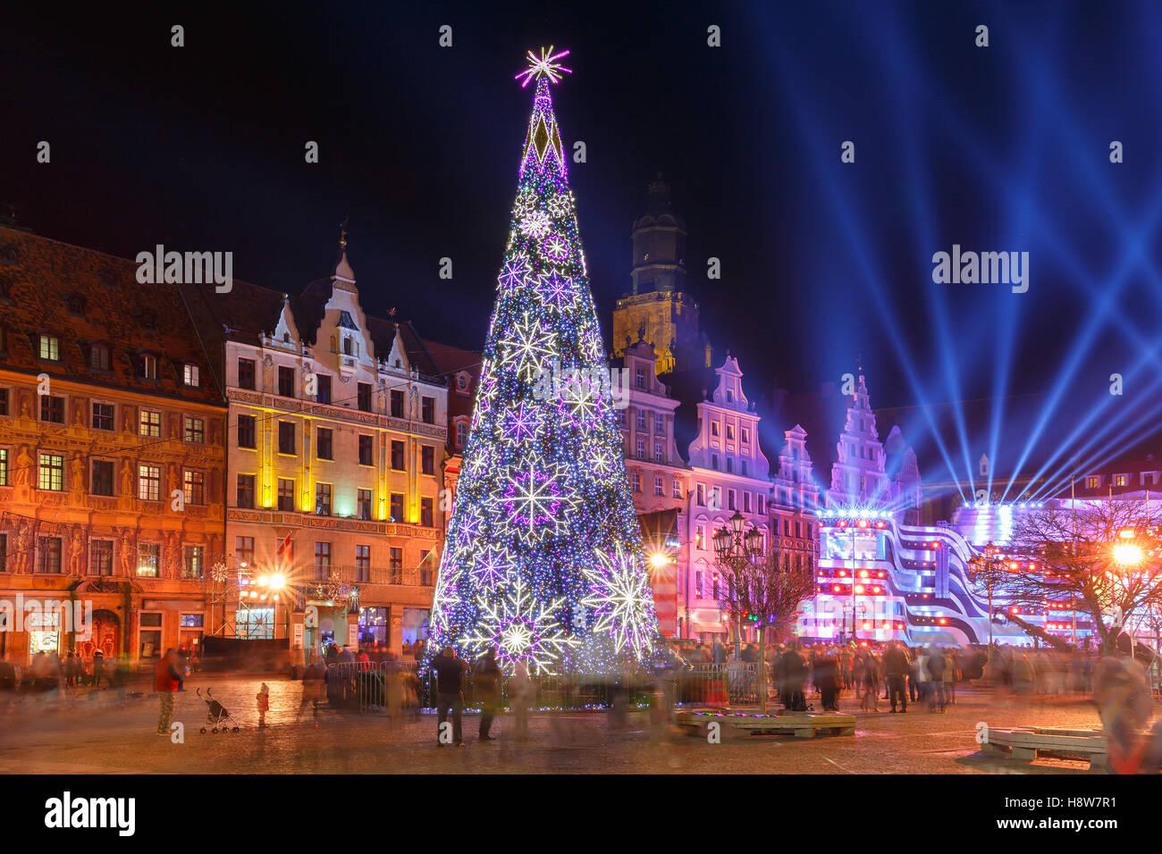 Leichte Laser Show Am Marktplatz, Wroclaw, Polen Stockbild