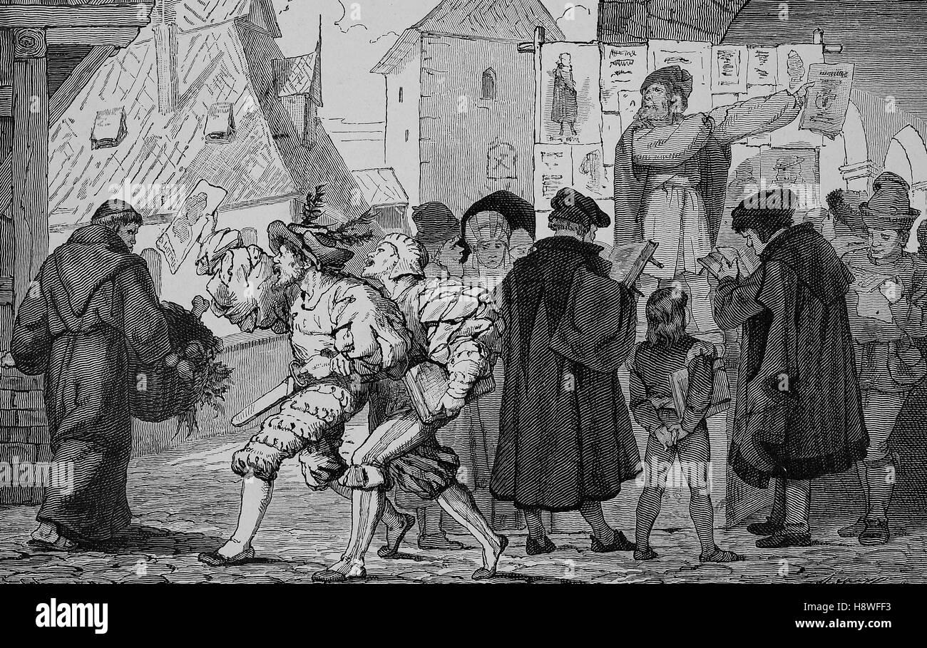 Deutschen Buchhandels im 16. Jahrhundert Stockbild