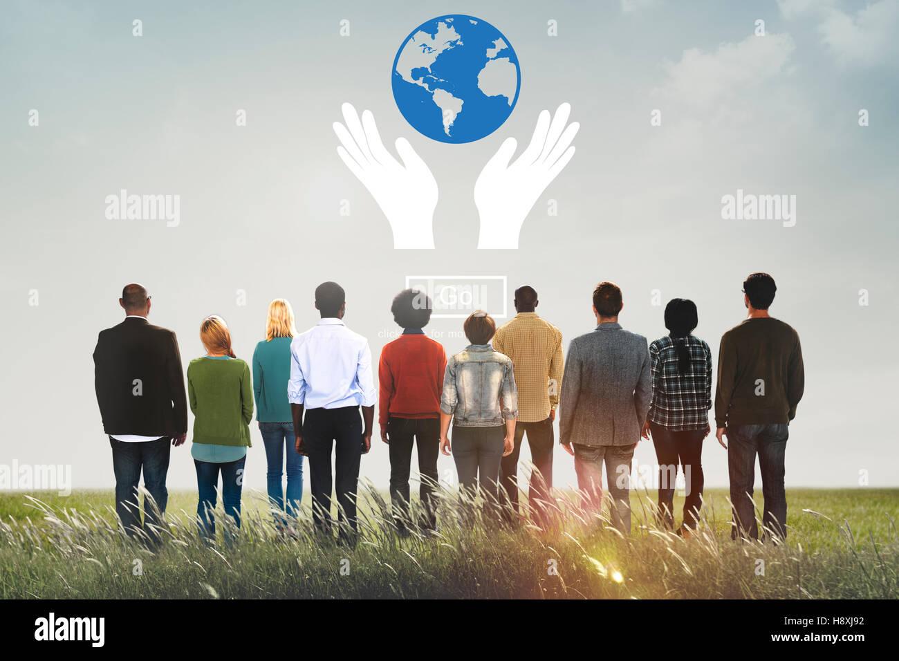 Globaler Wohlstand schützen Erde Pflegekonzept Stockbild