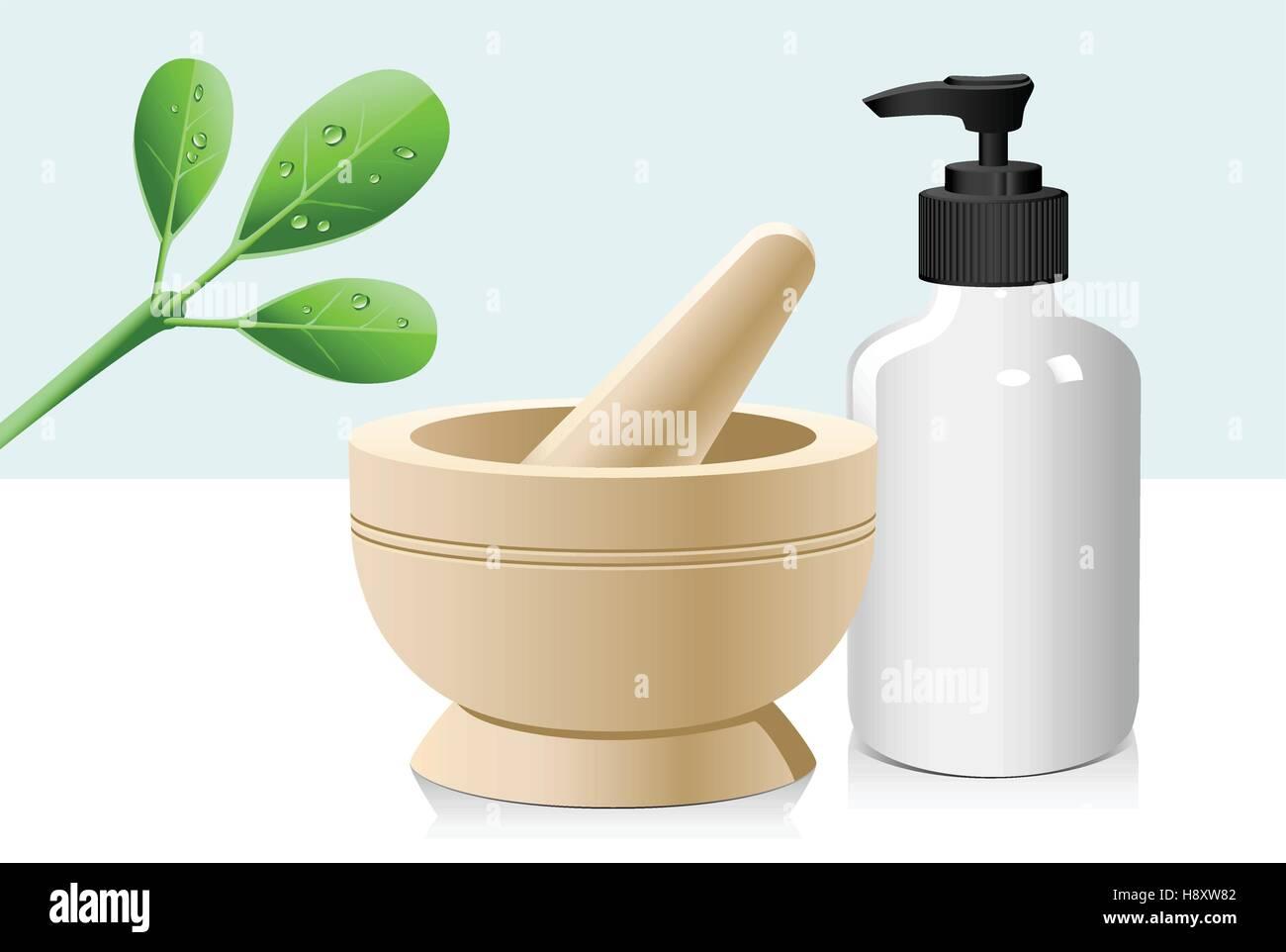 Natürliche Kräuter, Mörser und Stößel, Glas Lotion Flasche Bio-Beauty und Gesundheit Stock Vektor