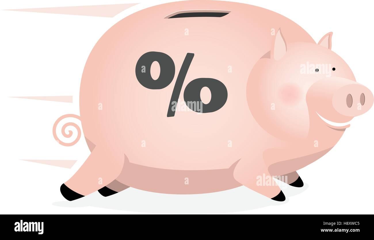 Ein Sparschwein, Sparkonto Zinsen schnell gewinnen Stock Vektor