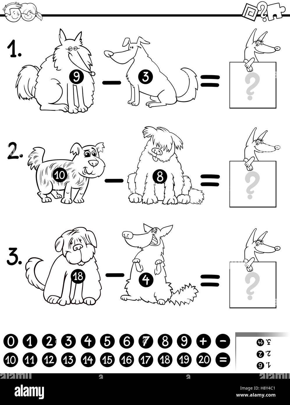 Cartoon Illustration Educational Mathematical Subtraction Stockfotos ...