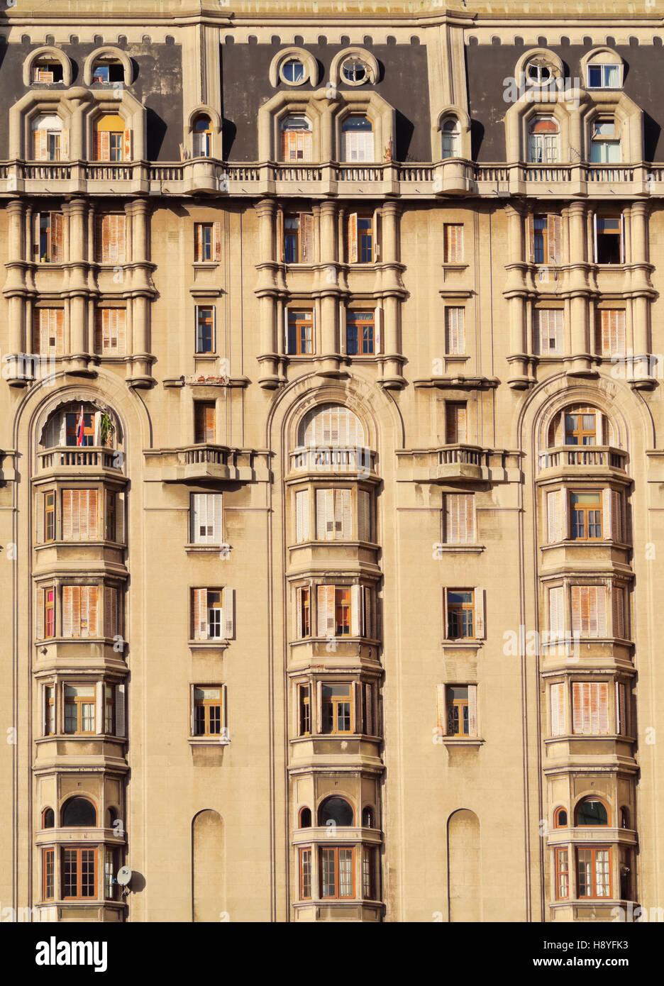 Uruguay, Montevideo, Detailansicht der Palacio Salvo auf dem Platz der Unabhängigkeit. Stockbild