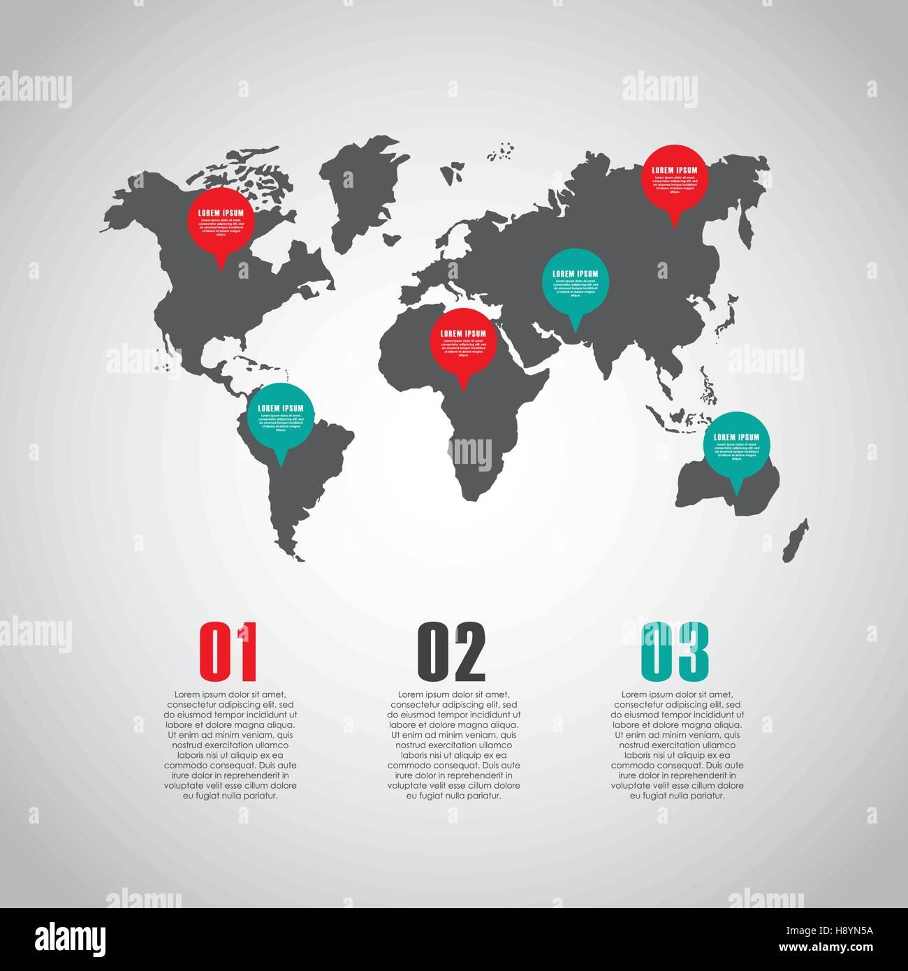 Infografik-Präsentationsvorlage mit Zahlen und Welt Kartensymbol ...