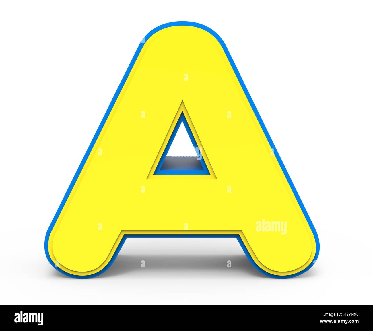 3D Rendering niedlichen gelben Buchstaben A isoliert, weißer ...