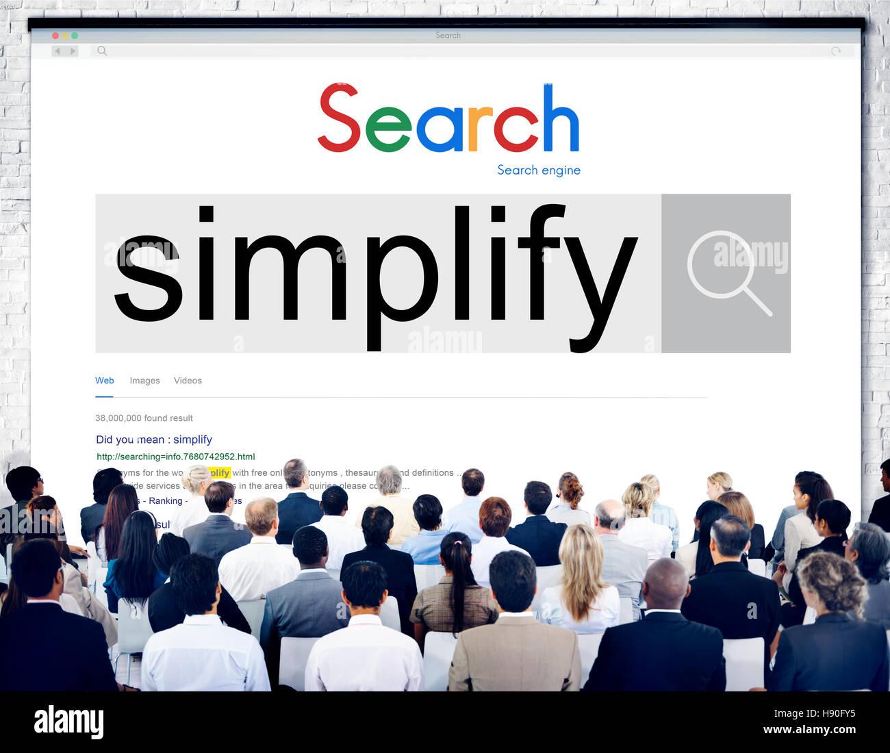Vereinfachen Sie einfaches einfaches Konzept zu klären Stockbild