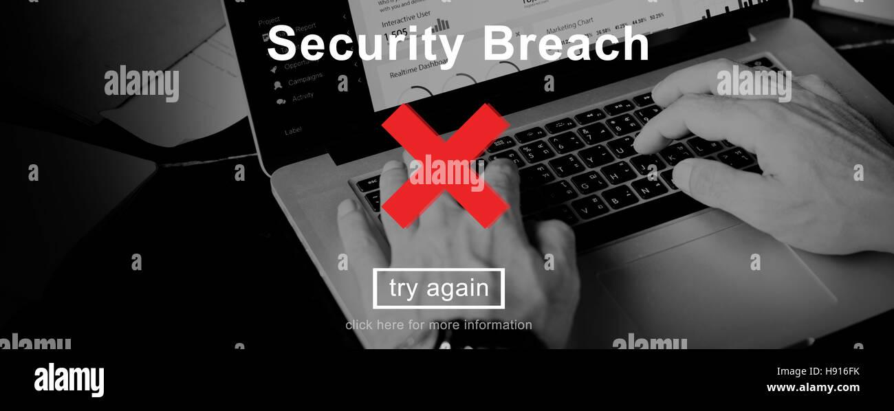 Verstoß gegen Risiko gefährlicher Hacker Sicherheitskonzept Stockbild