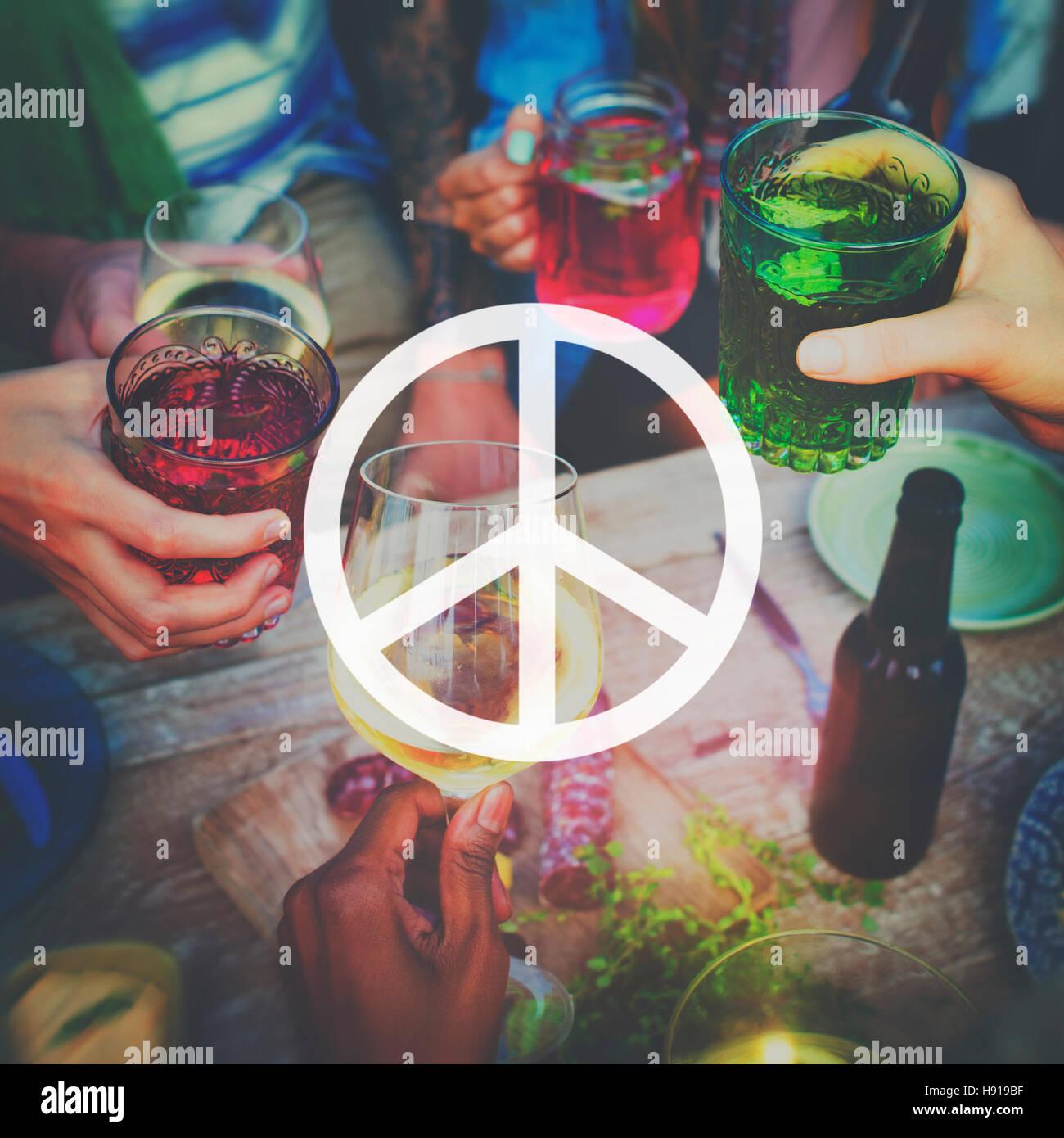 Frieden Freiheit Hoffnung Pazifist spirituelle Liebe Konzept Stockbild