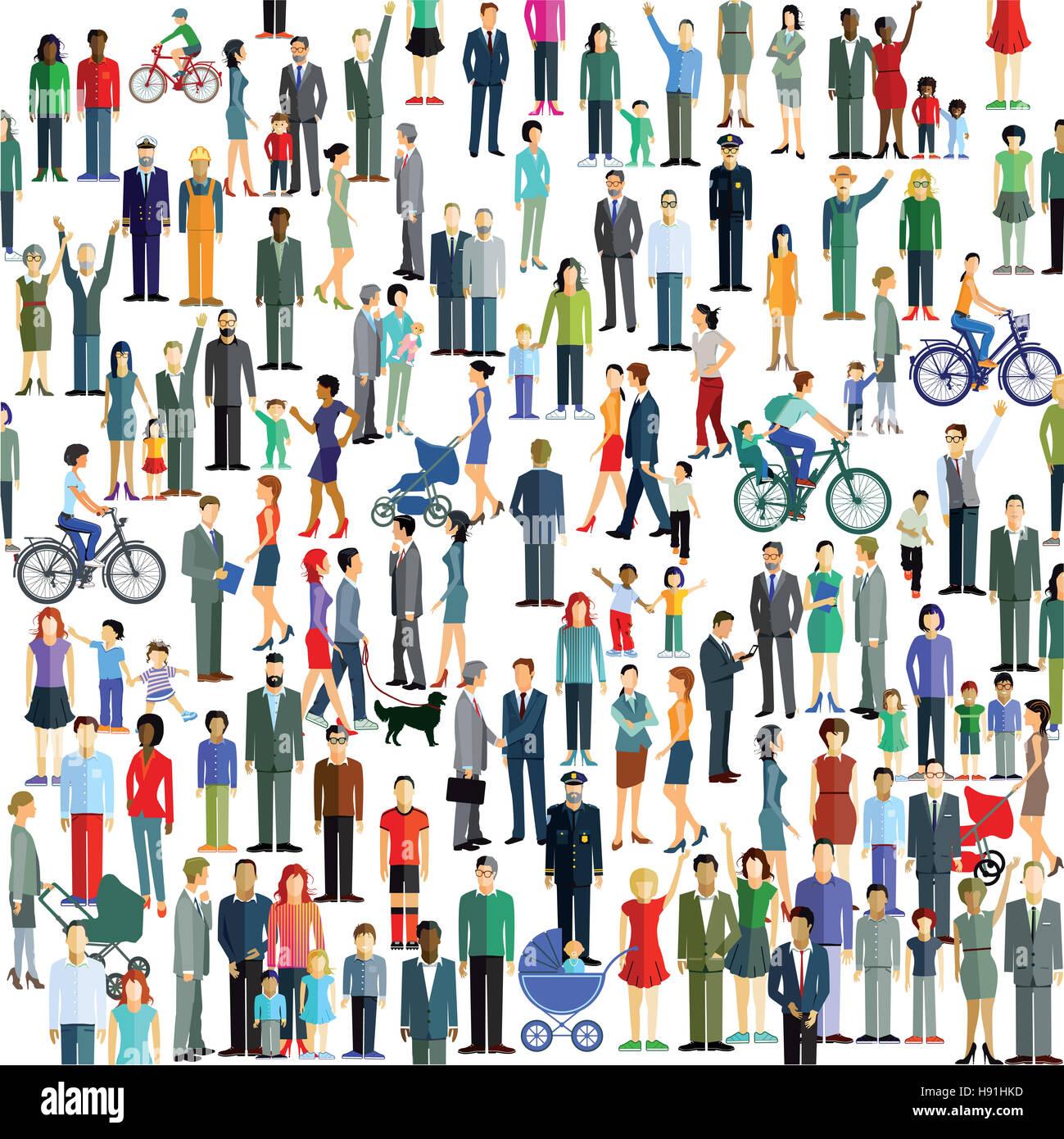 Menge, Gemeinde, Bürger, Einwohner, Eltern, Kinder, Stockbild