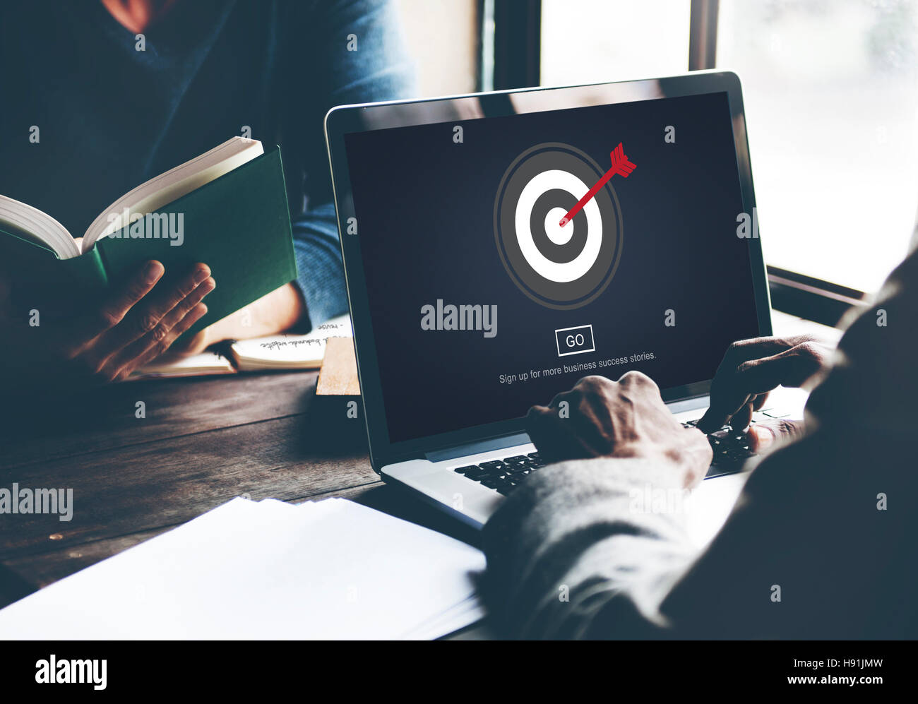 Ausrichtung mit dem Ziel Shhot direktional präzise Konzept Stockbild