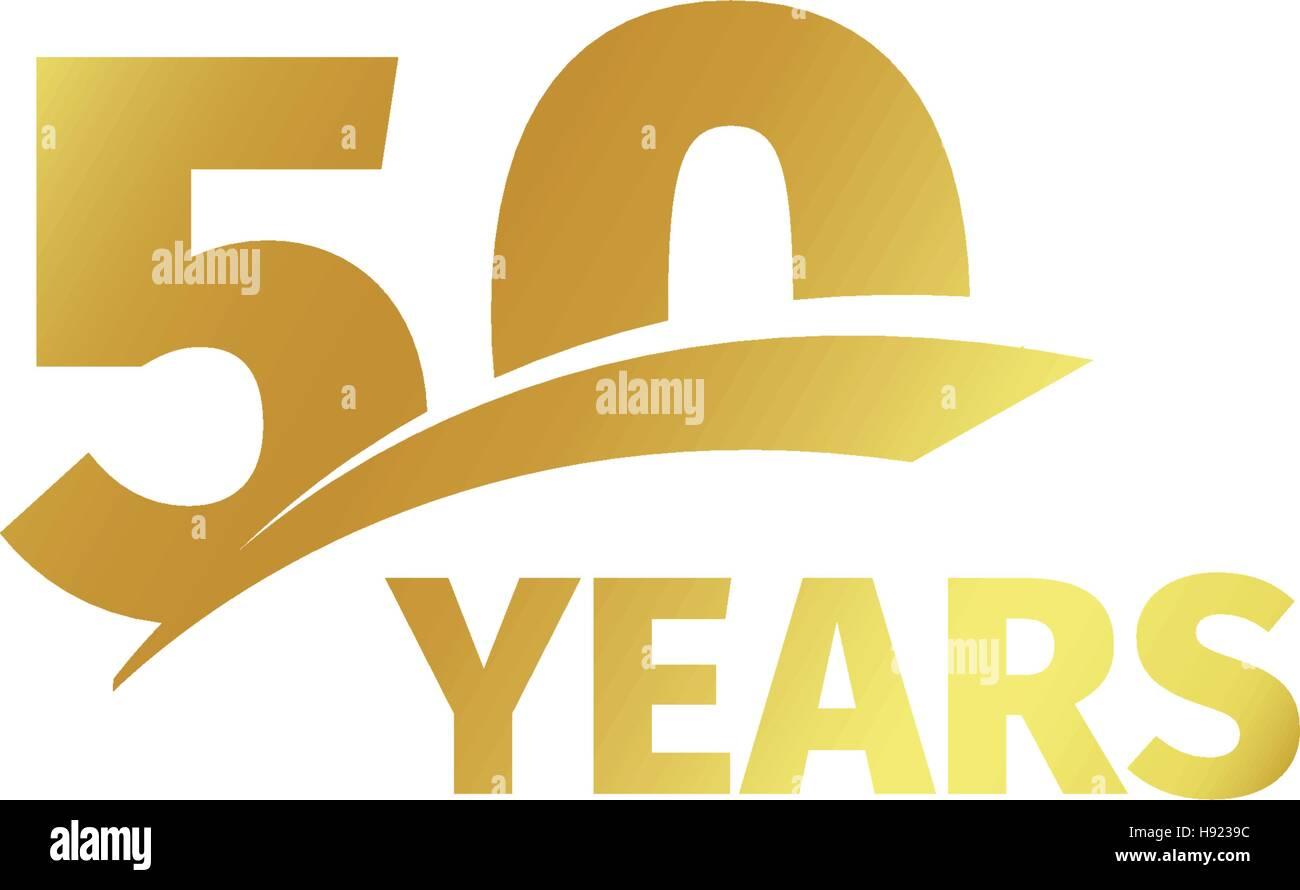 Isolierte Abstract Golden 50th Jahrestag Logo Auf Weissem Hintergrund