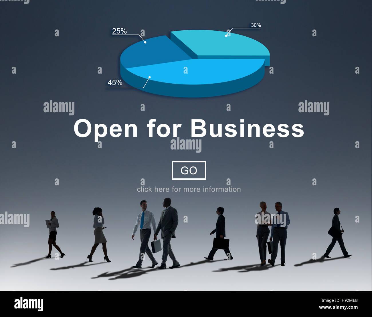 Open for Business Partnerschaft Industrie-Konzept Stockfoto