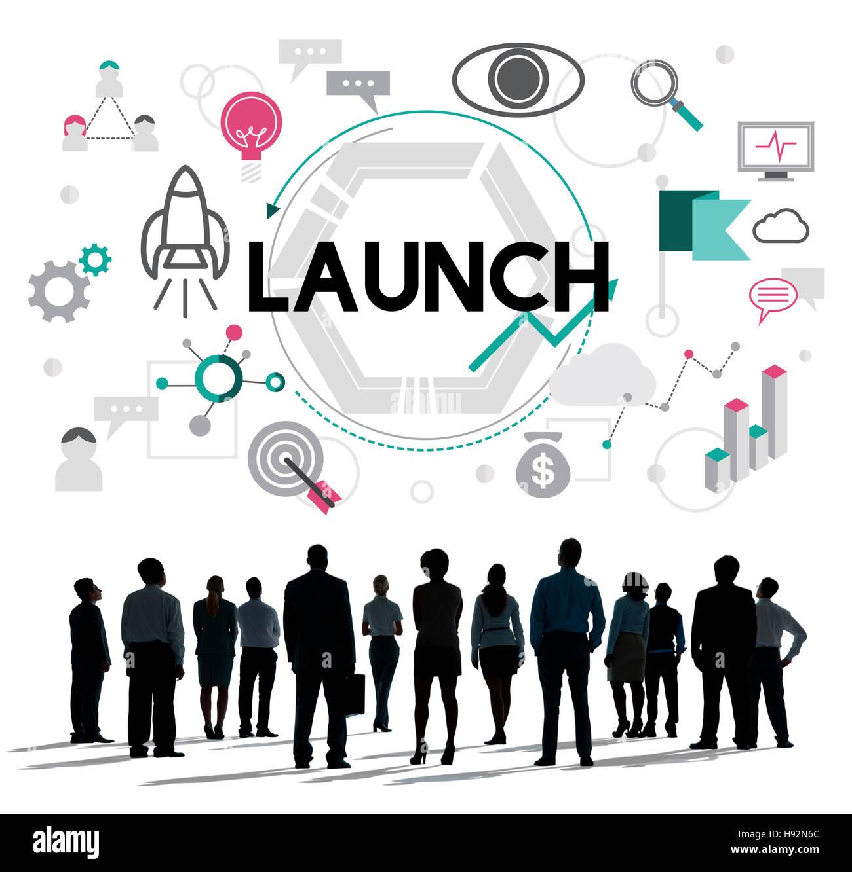 Start Begin einzuführen, Kick-Off-neue Business-Konzept Stockbild