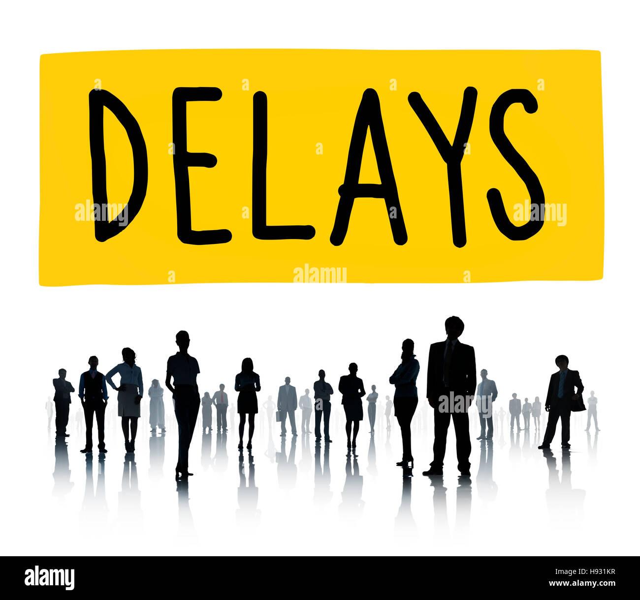 Verzögerungen späten Zwischenstopp verschoben Hindernis Konzept Stockbild