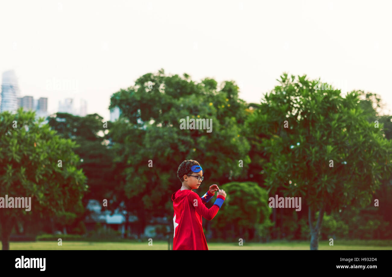 Superheld junge süße Glück Spaß spielerisch Konzept Stockbild
