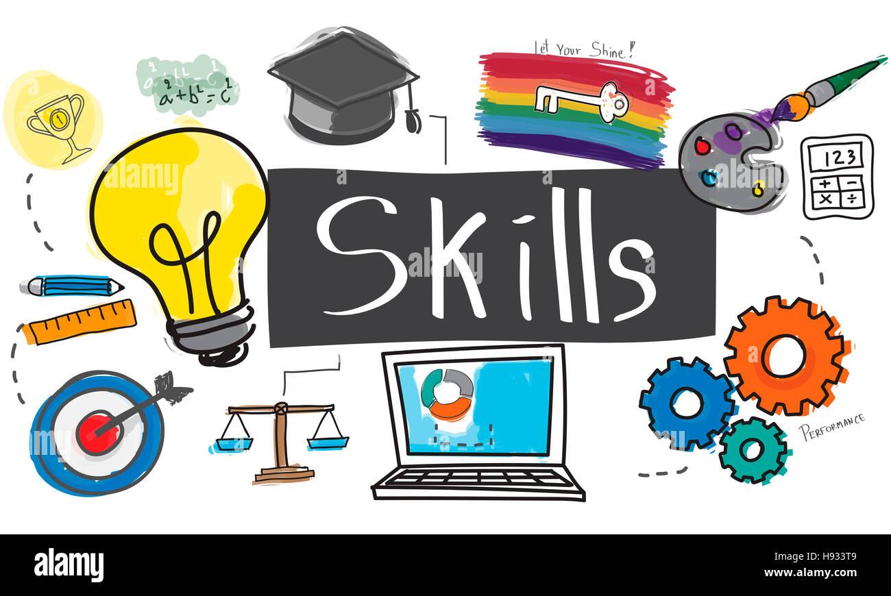 Skills Cleverness Intelligenz Besetzung Talent-Konzept Stockbild