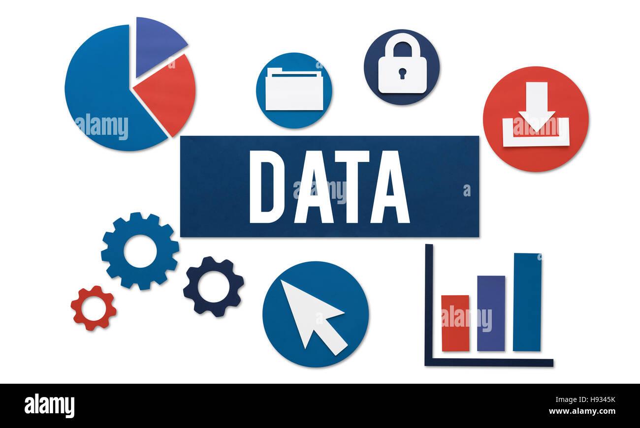 Daten-Analyse-Informationen-Technologie-Konzept Stockbild