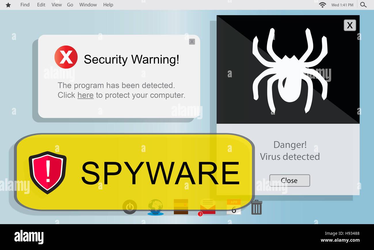 Spyware-Computer-Hacker-Virus-Malware-Konzept Stockbild