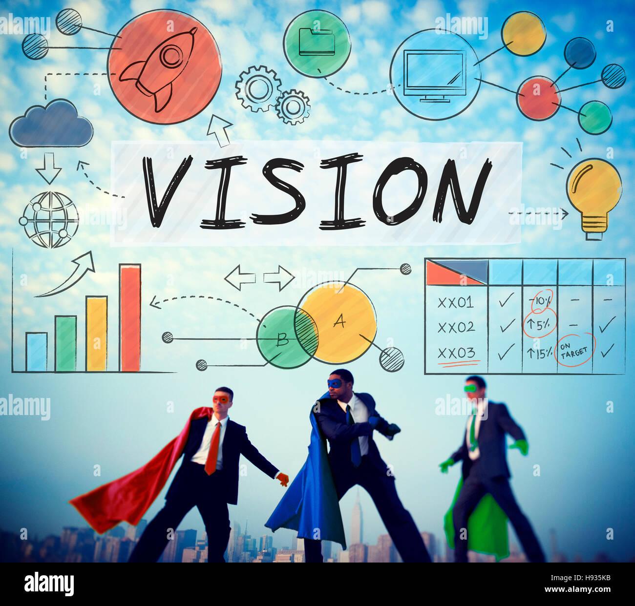 Vision Wachstum Unternehmensziel Geschäftskonzept Stockbild
