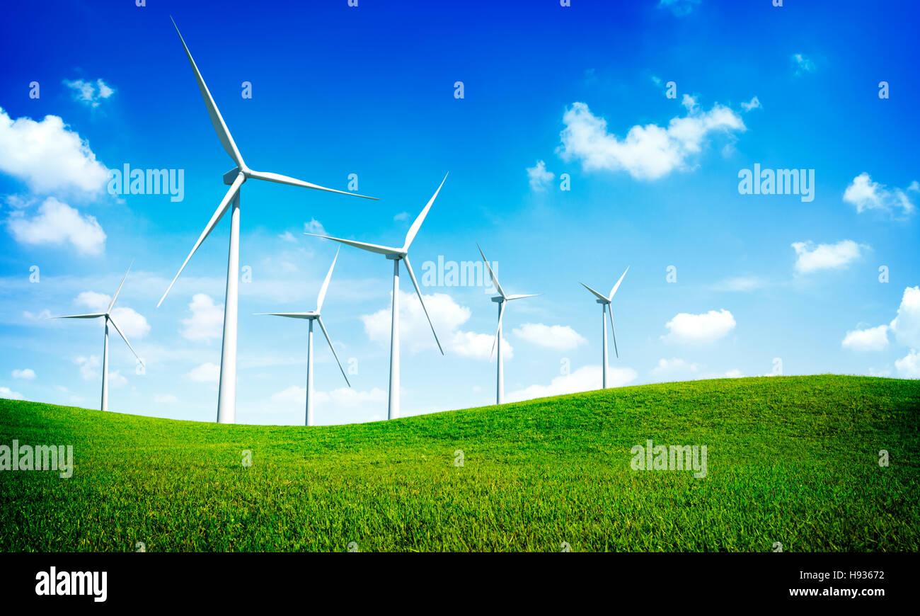 Turbine-Ökostrom-Strom-Technologie-Konzept Stockbild