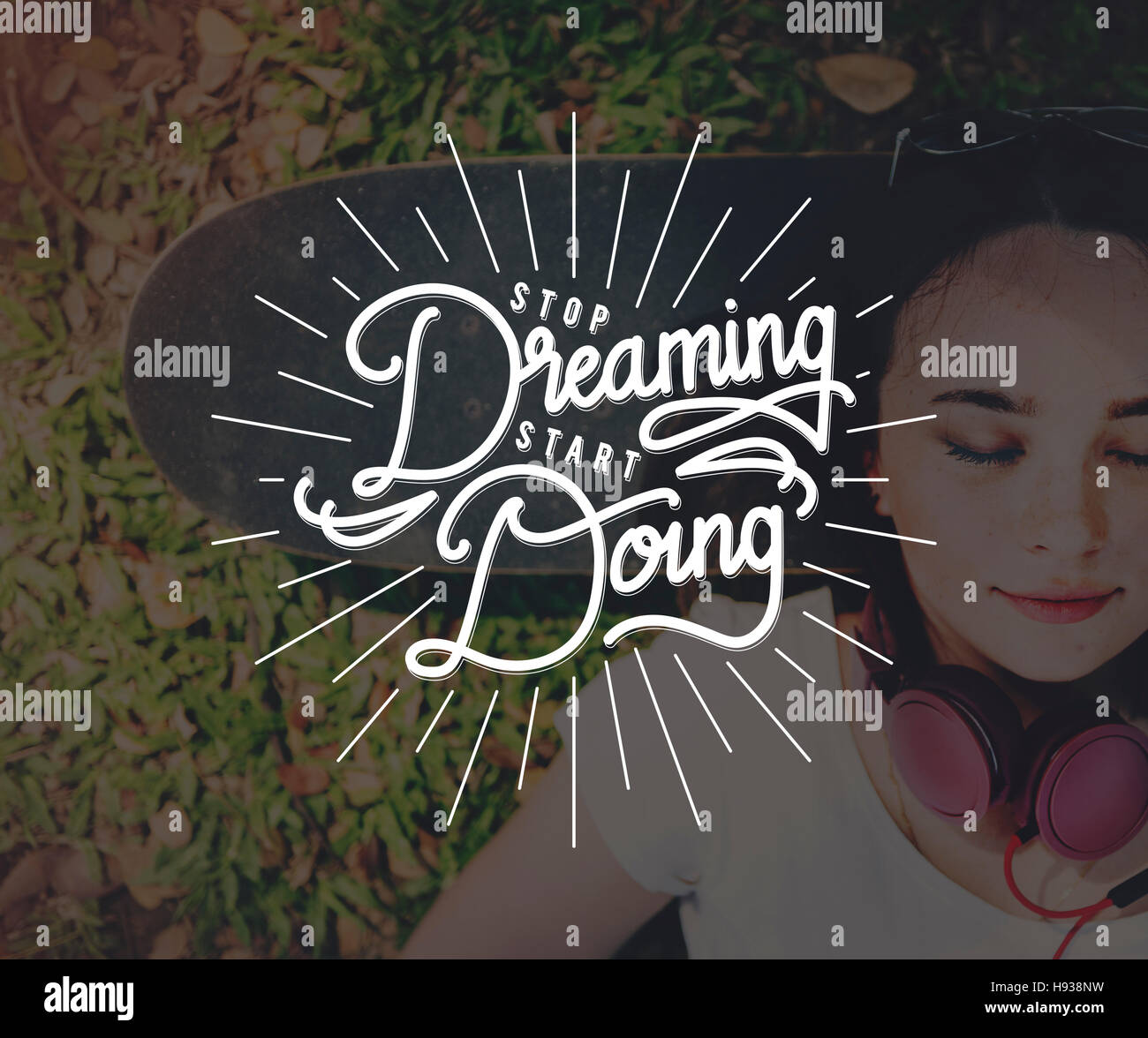Hör Auf Zu Träumen Tun Start Anfang Konzept Beginnen Stockbild