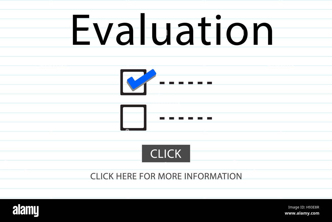 Checkliste Auswahl Evaluationskonzept überwachen zu tun Stockfoto