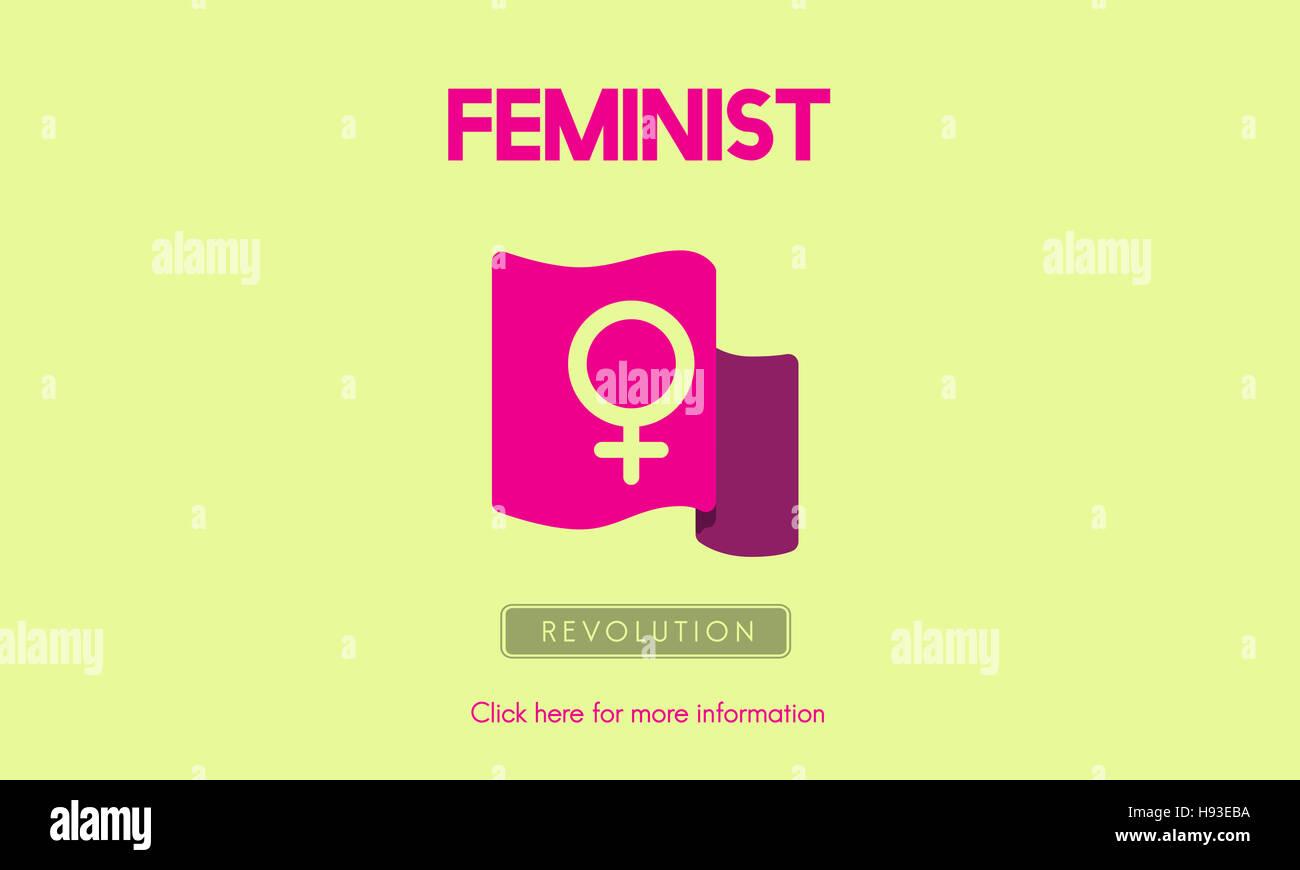 Frau macht feministische Gleichberechtigung Konzept Stockbild