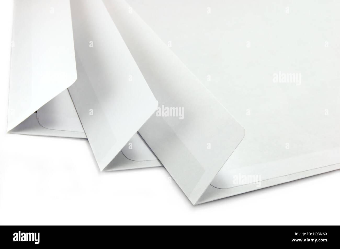 Offene Umschläge, isolierten großen detaillierte Makro Nahaufnahme Stockbild